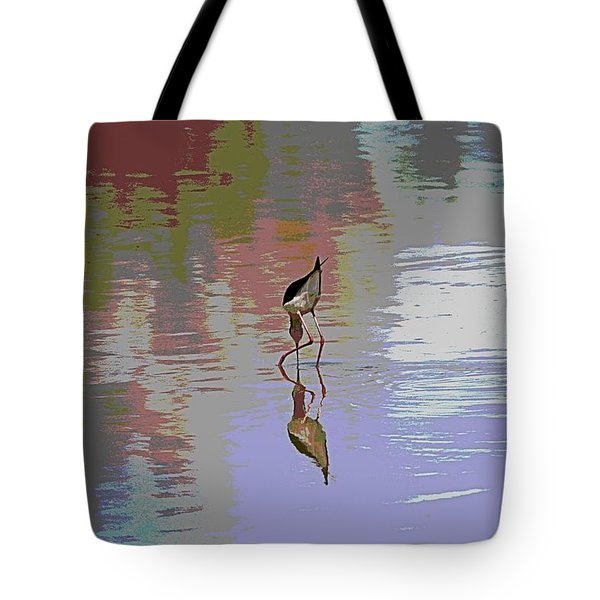 Tote Bag featuring the photograph Black Neck Stilt Out In The Pond by Tom Janca