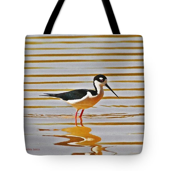 Tote Bag featuring the photograph Black Neck Stilt Standing by Tom Janca