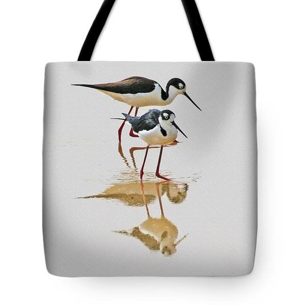 Black Neck Stilts Togeather Tote Bag by Tom Janca