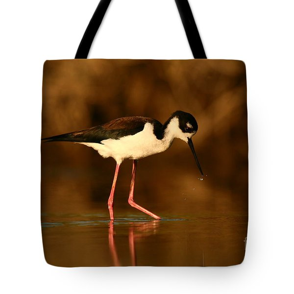 Tote Bag featuring the photograph Black-necked Stilt Waterdrops by John F Tsumas