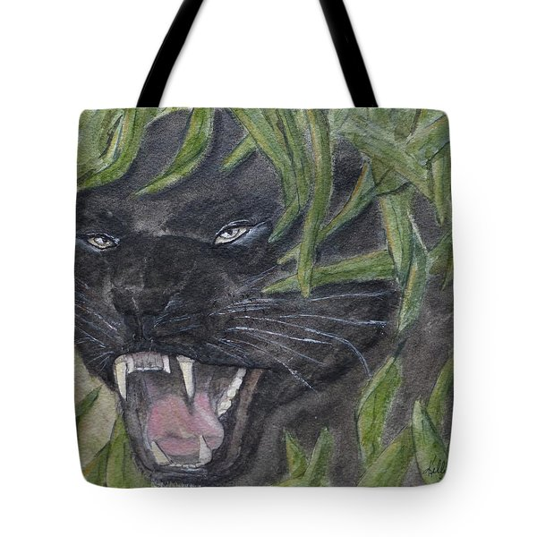 Tote Bag featuring the painting Black Panther Fury by Kelly Mills