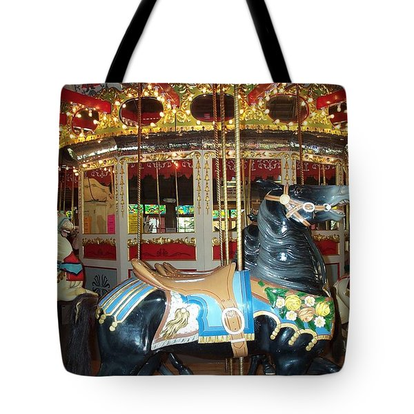 Tote Bag featuring the photograph Black Pony by Barbara McDevitt