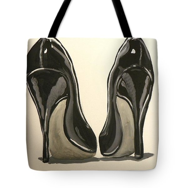 Black Pumps Tote Bag by Marisela Mungia