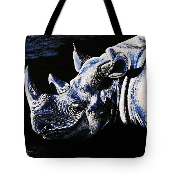 Tote Bag featuring the painting Black Rino by Viktor Lazarev