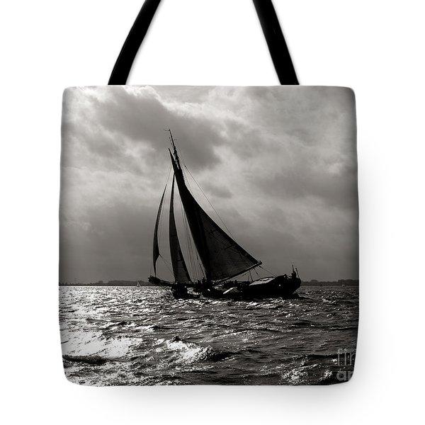 Black Sail Sunset Tote Bag