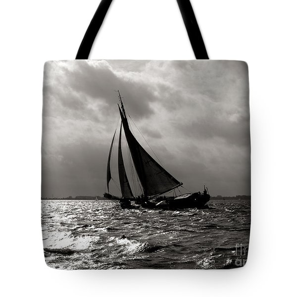 Black Sail Sunset Tote Bag