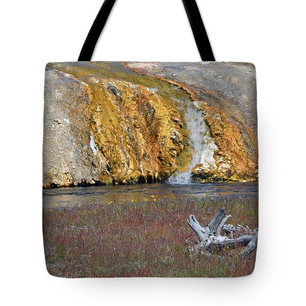 Black Sand Basin Runoff Yellowstone Tote Bag by Bruce Gourley