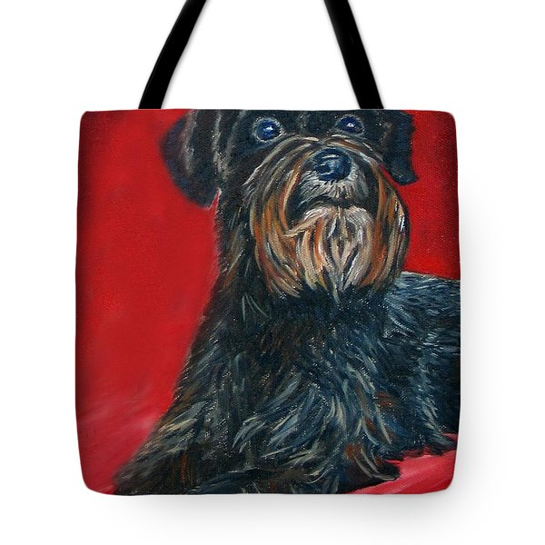 Black Schnauzer Pet Portrait Prints Tote Bag
