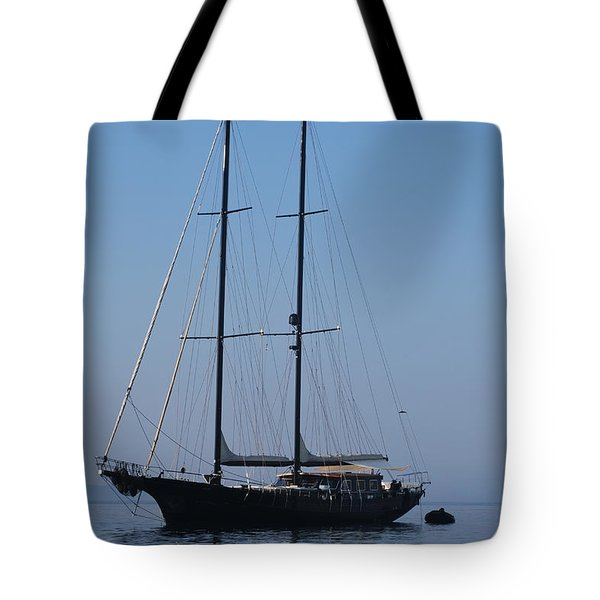 Black Ship Tote Bag