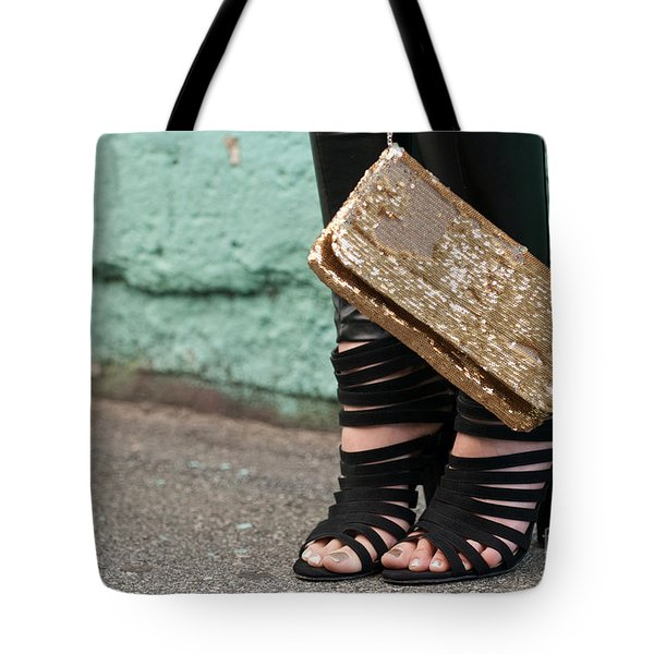 Black Shoes Gold Sequins Tote Bag by Rick Piper Photography