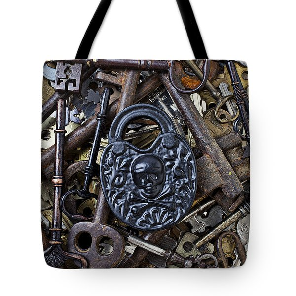 Black Skull And Bones Lock Tote Bag by Garry Gay