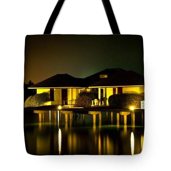 Black Starry Night In Tropics 3 Tote Bag by Jenny Rainbow