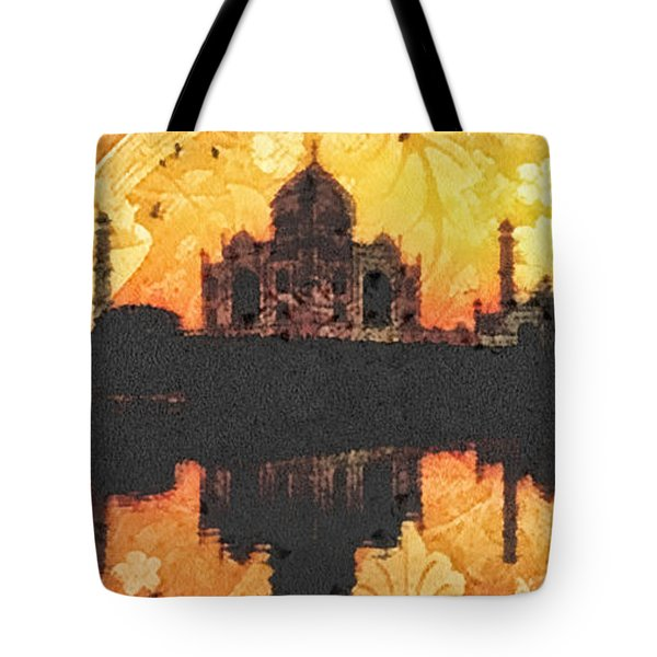 Black Taj Mahal Tote Bag by Mo T