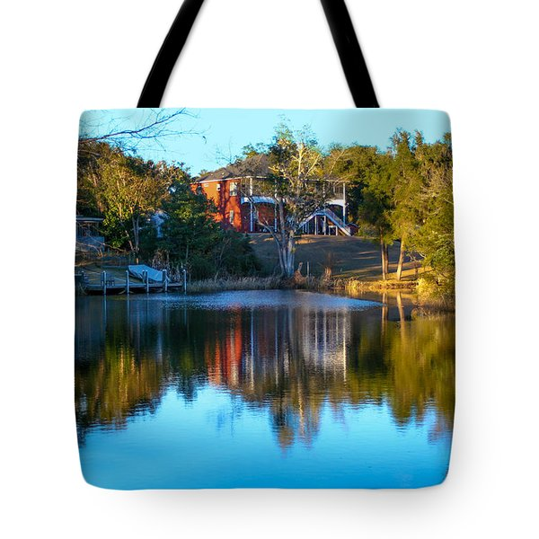Black Water River In Blue Tote Bag