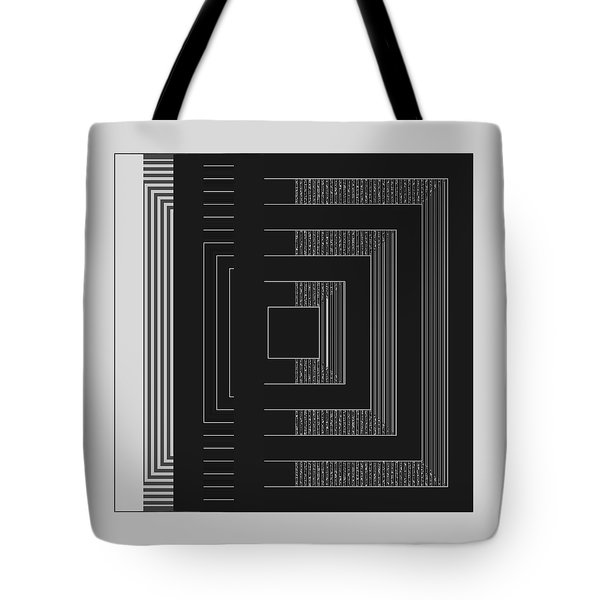 Tote Bag featuring the digital art Black White Gray Square Geometric by Judi Suni Hall