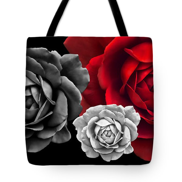 Black White Red Roses Abstract Tote Bag