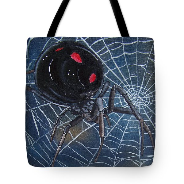 Black Widow Tote Bag by Debbie LaFrance