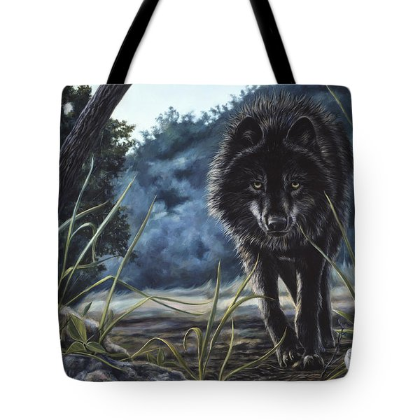 Black Wolf Hunting Tote Bag