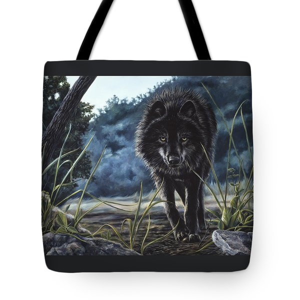 Black Wolf Hunting Tote Bag by Lucie Bilodeau