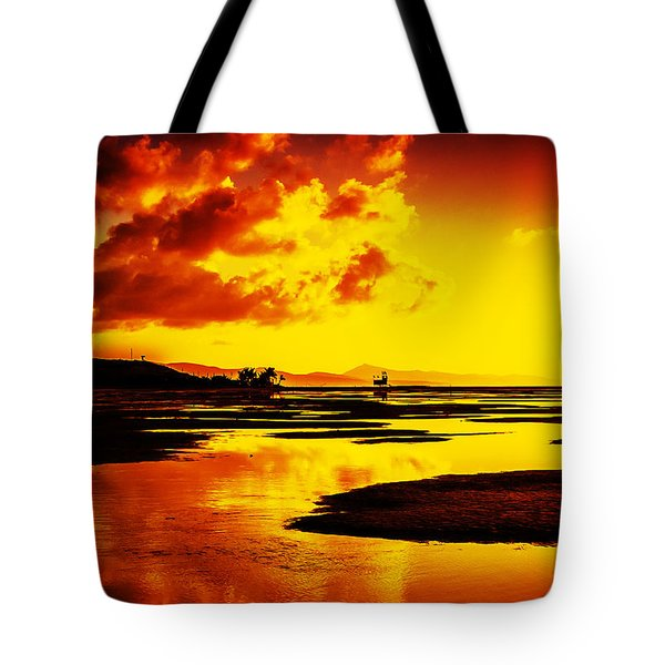 Tote Bag featuring the photograph Black Yellow And Orange Sunrise Abstract by Julis Simo