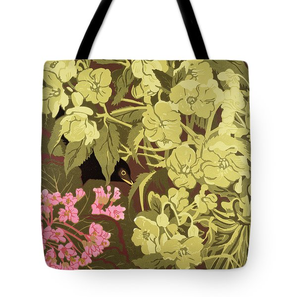 Blackbird In The Hellebores Tote Bag by Carol Walklin