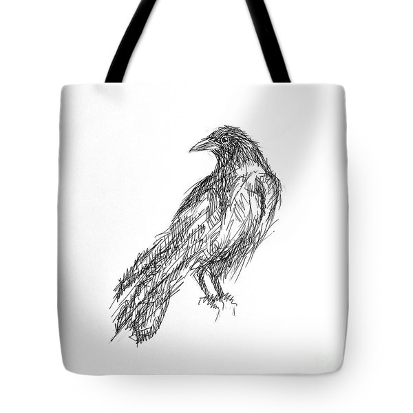 Tote Bag featuring the drawing Blackbird  by Nicole Gaitan