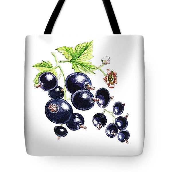 Tote Bag featuring the painting Blackcurrant Berries  by Irina Sztukowski