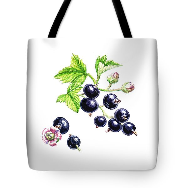 Tote Bag featuring the painting Blackcurrant Botanical Study by Irina Sztukowski