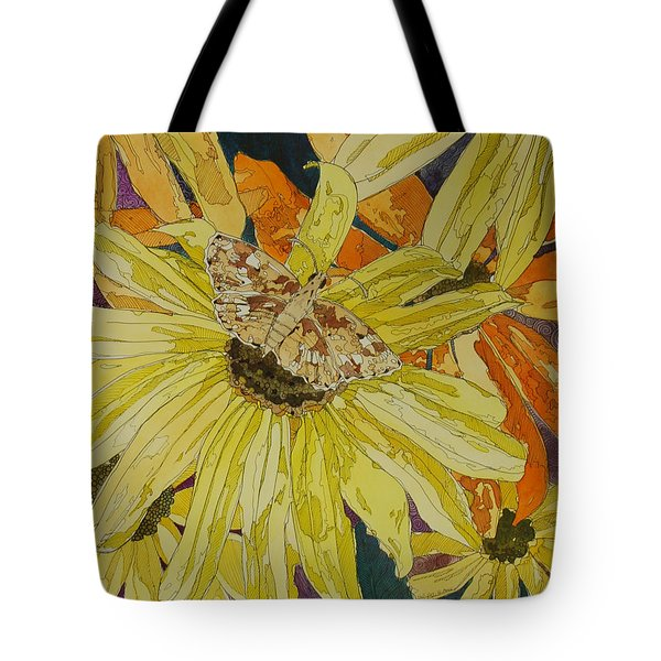 Blackeyed Susans And Butterfly Tote Bag by Terry Holliday