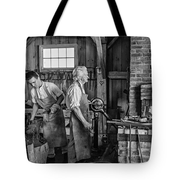 Blacksmith And Apprentice 2 Bw Tote Bag by Steve Harrington