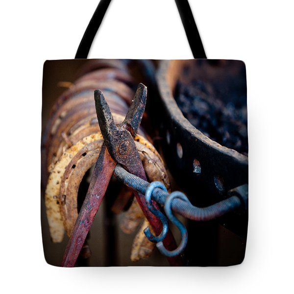 Tote Bag featuring the photograph Blacksmith Tools by Art Block Collections