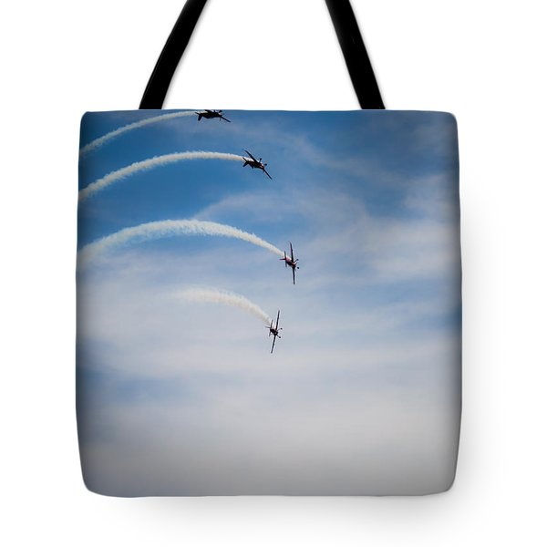 Tote Bag featuring the photograph Blades Formation Loop by Scott Lyons