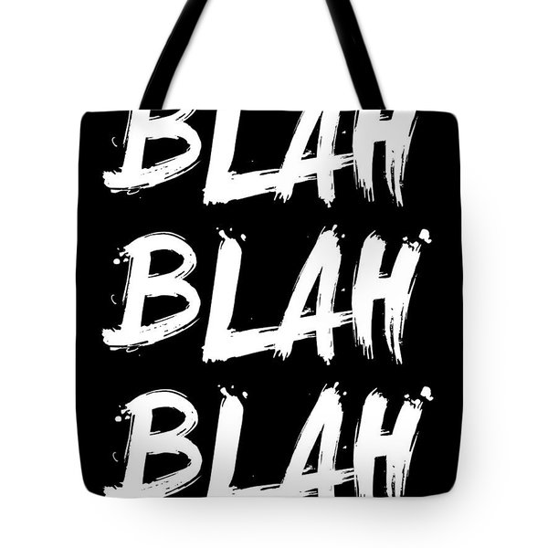 Blah Blah Blah Poster Black Tote Bag