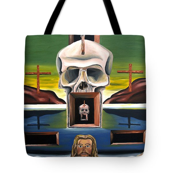 Tote Bag featuring the painting Blasphemixition by Ryan Demaree