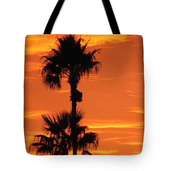 Tote Bag featuring the photograph Blazing Sunset by Deb Halloran