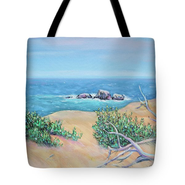 Bleached Cedar And Ocean Rocks Tote Bag by Asha Carolyn Young