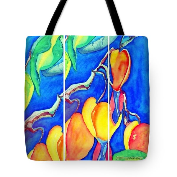 Bleeding Hearts Tryptic - Digital Artwork From Original Watercolor Painting Tote Bag