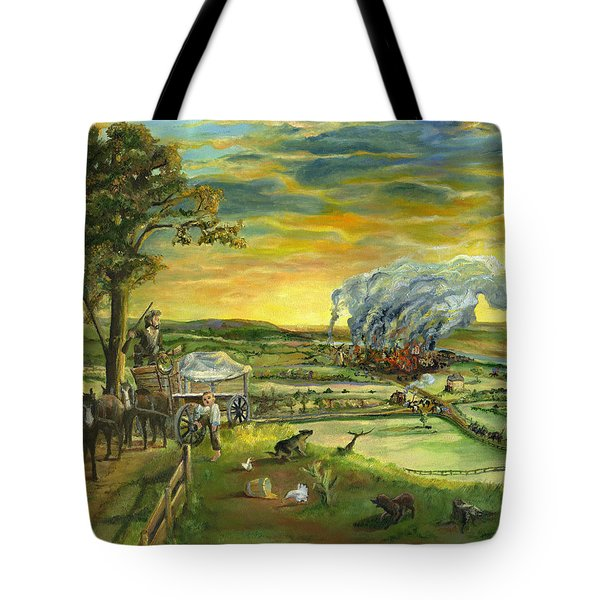 Tote Bag featuring the painting Bleeding Kansas - A Life And Nation Changing Event by Mary Ellen Anderson