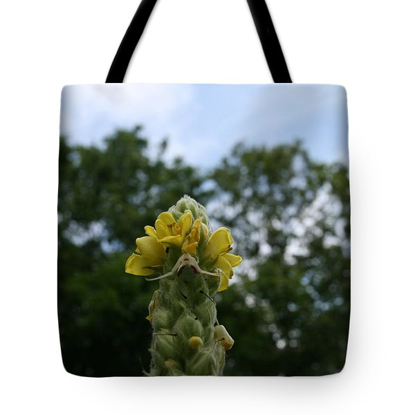 Blended Golden Rod Crab Spider On Mullein Flower Tote Bag by Neal Eslinger