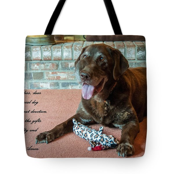 Bless This Dog Tote Bag by Guy Whiteley