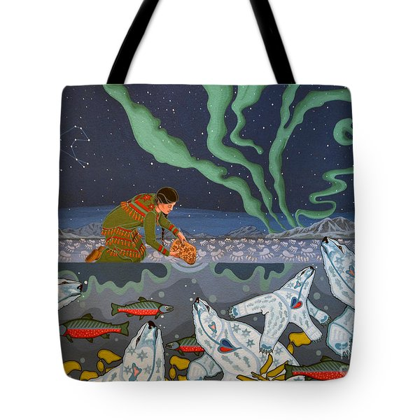 Tote Bag featuring the painting Blessing Of The Polar Bears by Chholing Taha
