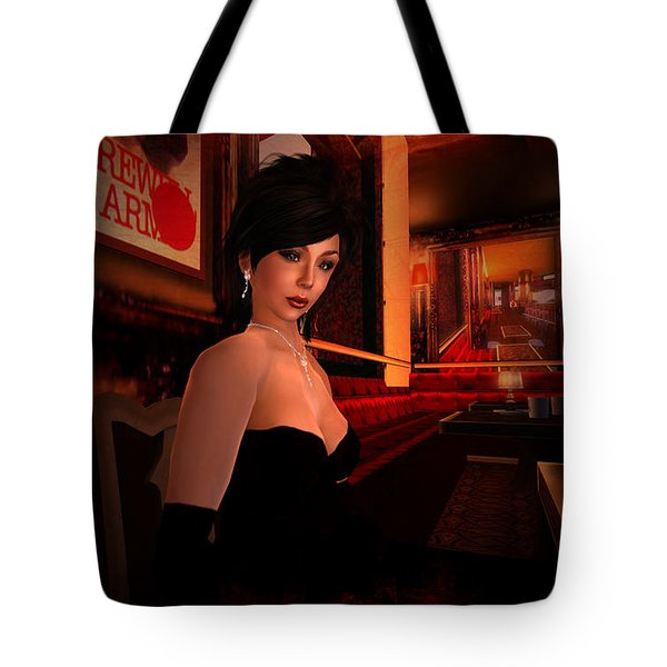 Tote Bag featuring the digital art Blind Date In A Paris Restaurant 1920s by Kylie Sabra