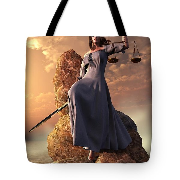 Blind Justice With Scales And Sword Tote Bag
