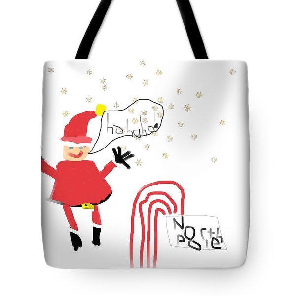Blizzard In The North Pole Tote Bag by My seven year old