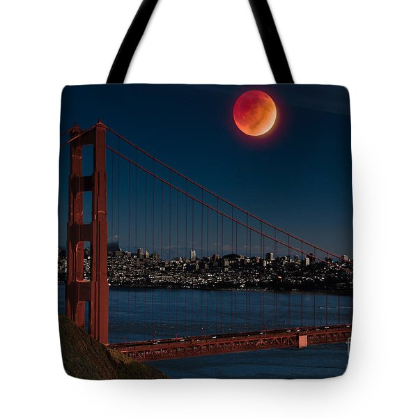 Blood Moon Over Golden Gate Bridge Tote Bag by Dan Hartford