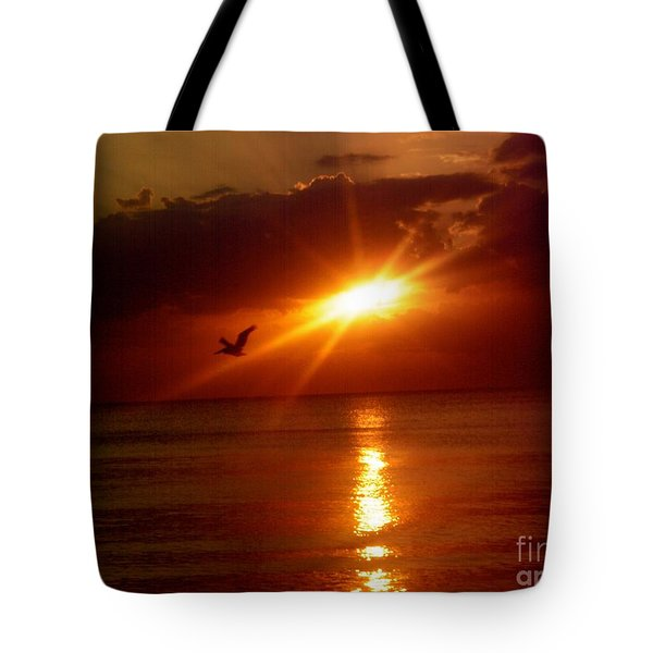 Tote Bag featuring the photograph Blood Red Sunset by Carla Carson