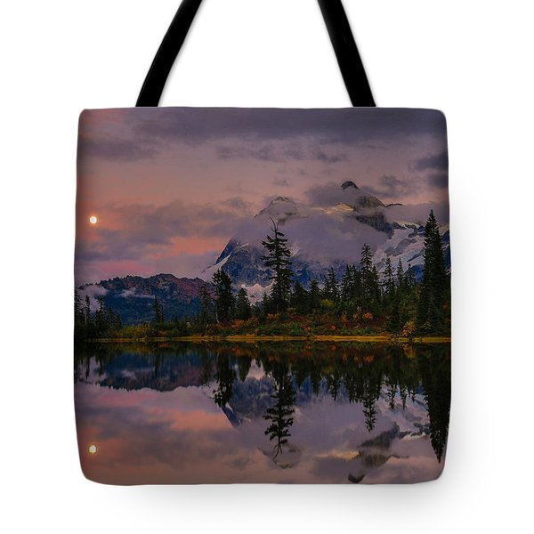 Bloodmoon Rise Over Picture Lake Tote Bag by Eti Reid