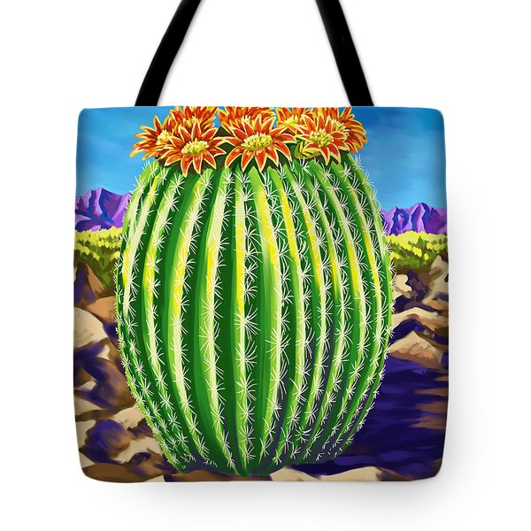 Tote Bag featuring the painting Blooming Barrel Cactus by Tim Gilliland