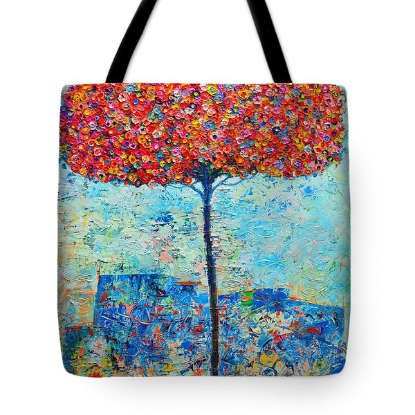 Blooming Beyond Known Skies - The Tree Of Life - Abstract Contemporary Original Oil Painting Tote Bag