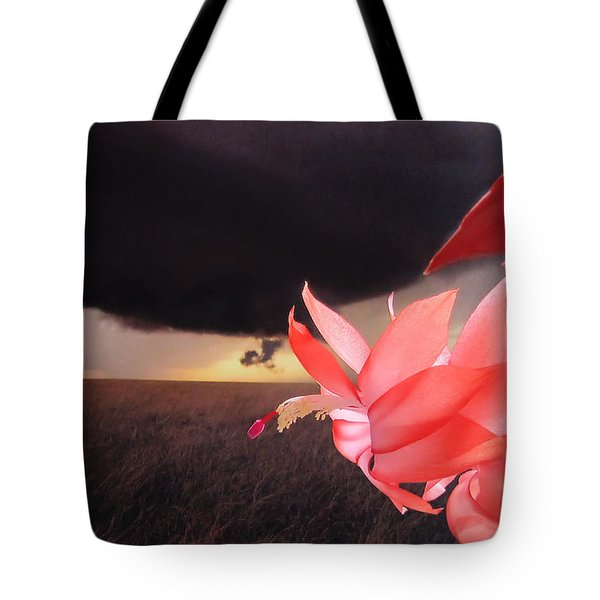 Blooms Against Tornado Tote Bag by Katie Wing Vigil